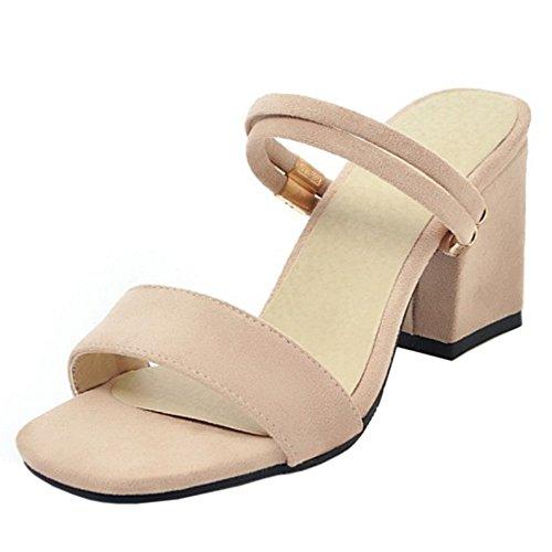 Mules Open Sandals Beige Women Toe TAOFFEN Simple HwZqIxEnOE