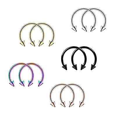 Dovewill 10 Pieces 16G Spikes Horseshoe Bar Circular Barbell Lip Nose Septum Ear Ring with Various Sizes & Colours