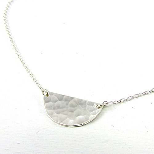 Silver Half Moon Necklace | Semi Circle Pendant | Hammered Silver Charm | .925 Sterling Silver - Half Circle Pendant