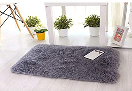 Lukzer 1 PC Microfiber Bath Mat (Grey) 60 x 40 cm Extra Soft and Absorbent Bath Mats for Tub, Shower, and Bath Room