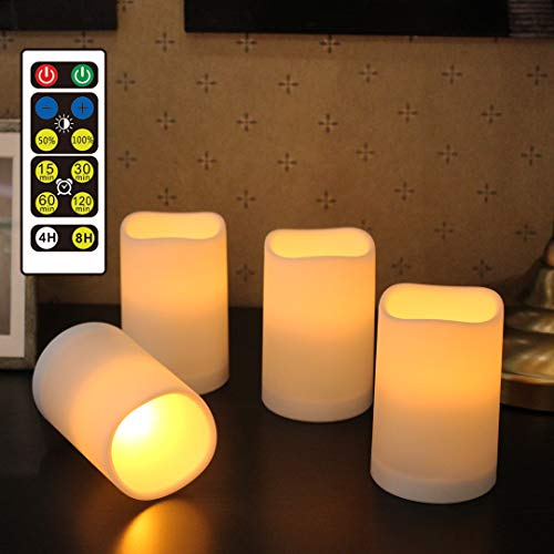 WRalwaysLX Flameless Candles, Remote Control Candles Decorative Outdoor and Indoor,Set of 4(2.5 D X4 H ) Flickering Flame with Timer by 3AAA Batteries(not Included)