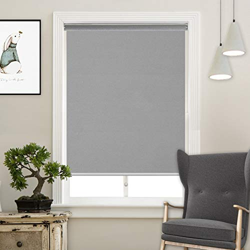 Cordless Roller Shades Light Blocking UV Protection Window Shades for Home, Hotel, Club, Grey 34×72″