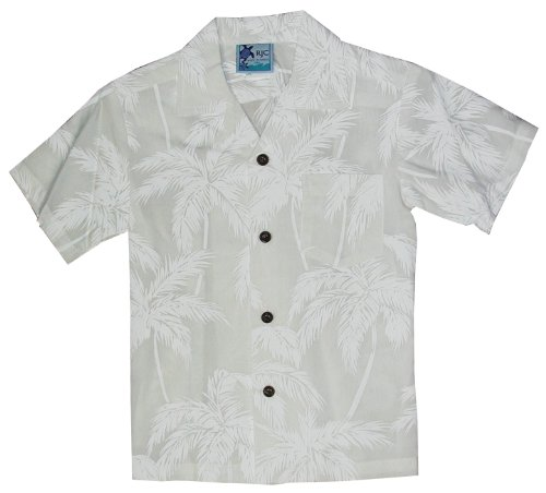 RJC Boys Palm Trees Wedding White Rayon Shirt 16 by RJC