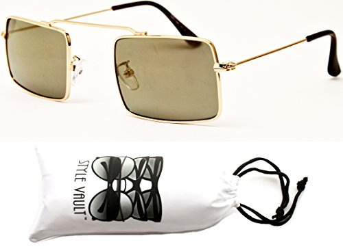 V3031-vp Style Vault Unique Metal Rectangular Sunglasses (B135 Gold-Brown - Thin Sunglasses Rectangle