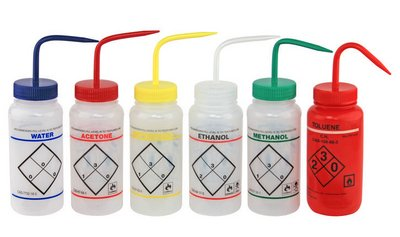 CHEMGLA - Bottle- Wash- Six Pack- One of Water- Acetone- Methanol- Isopropanol- Toluene- and Ethanol- 500m, PK