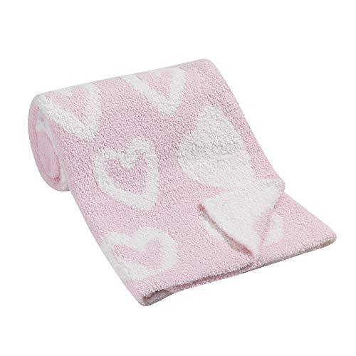 Lambs & Ivy Pink/White Heart Reversible Luxury Ultra-Soft Chenille Baby Blanket
