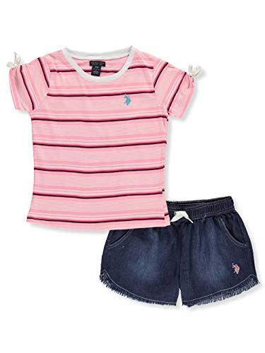 U.S. Polo Assn. Girls' Big 3 Piece Tunic, Jersey Tank, and Pull-On Short Set, Pink, 12
