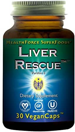 HealthForce SuperFoods Liver Rescue - 30 Vegan Capsules - All Natural Liver Detoxifier & Regenerator Supplement with Milk Thistle & Dandelion Root - Gluten Free - 15 Servings