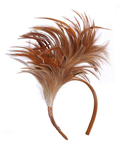 Felizhouse 1920s Fascinator with Feathers Headband for Women Kentucky Derby Wedding Tea Party Headwear (Light Coffee) -