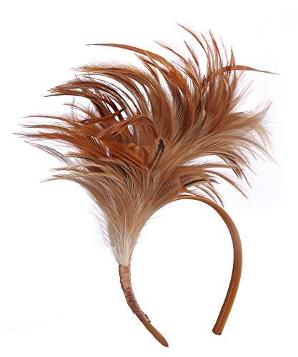 Felizhouse 1920s Fascinator with Feathers Headband for Women Kentucky Derby Wedding Tea Party Headwear (Light Coffee)