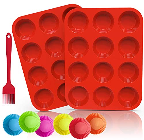 Ozera 2 Pack Silicone Muffin Pan Cupcake Pan 12 Cups Muffin Tin Pan Tray Silicone Baking Come with Silicone Brush amp 6 Silicone Baking Cups