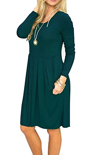 Loose Dress Green Dress Long Pockets Women's Amstt Swing Sleeve Pleated With Tunic Deep XxY8xAqn