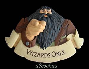 "Harry Potter Hagrid ""WIZARDS ONLY"" Door/Wall Plaque by Warner Bros. Hallmark 2000"