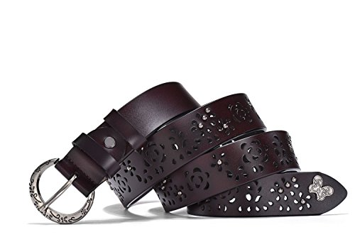 4d14b9018f75b TUNGHO Leather Belts for Women Vintage Hollow Flower Genuine Cowhide Ladies  Cowgirl Western Design with Crescent