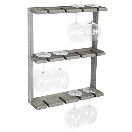 (MyGift Vintage Gray Wood Wall-Mounted 12 Wine Glass Holder Rack, Inverted Stemware Display)