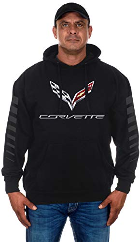 (Men's Chevy Corvette Pullover Hoodie with C7 Logo & Racing Stripes on Sleeves (Small, Black) )