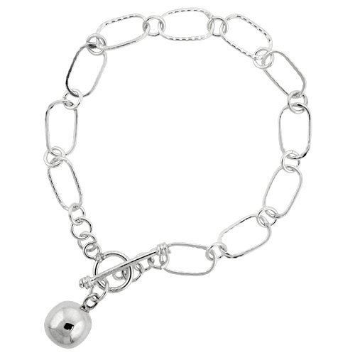 Sterling Silver Ball Rectangular Link Toggle Charm Bracelet, 7.5 inches (Silver Ball Toggle Bracelet)