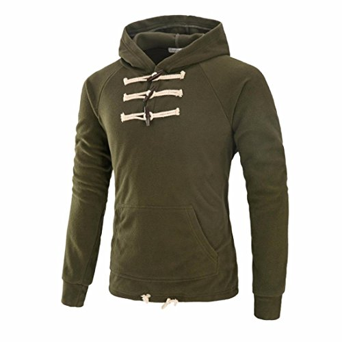 Han Shi Jacket, Mens Fashion Slim Coat Outwear Pocket Winter Long Sleeve Hoodies Sweater (M, Amry Green)
