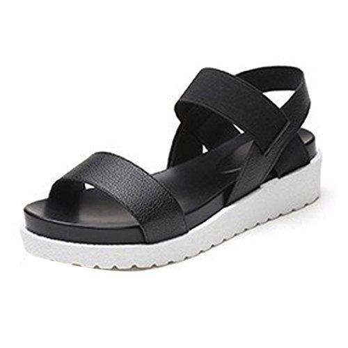 ZycShang Women Sandals Summer Sandals Shoes Peep-Toe Low Shoes Roman Sandals Ladies Flip Flops Size 4.5-9.5 Black r1sQOIUnES