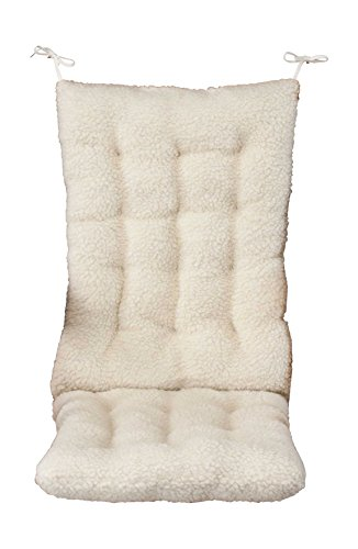 OakRidge Comforts WalterDrake 18.5x17x3-Inch Sherpa Rocking Chair Cushion, Set of 2, Natural