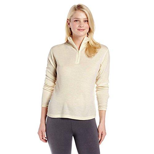 Minus33 Merino Wool Women's Sequoia Midweight 1/4 Zip, Cream, Large ()