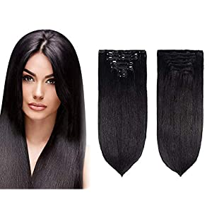 Morges Real Human Hair Extensions 7 Pcs For Women And Girls 50 Gram (16 Inch, Black)