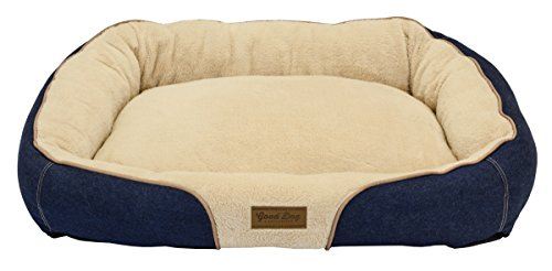Dallas Manufacturing Co. 34''X25'' large Bolster Dog Bed, Denim with Brown Piping by Dallas Manufacturing Co.