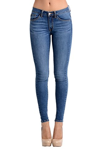 Blue Wash Apparel (Kan Can Women's Mid Rise Skinny Jeans 11 Medium Wash KC7092M)