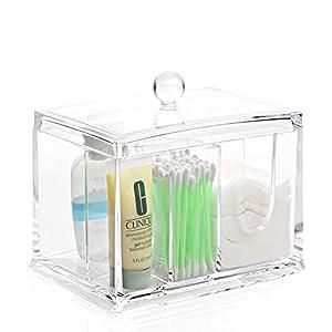 ZRO Maquillage Organisateur 4 Fente Porteur Acrylique Transparent cosmétiques Boîte de rangement avec couvercle