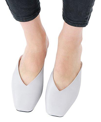 Annakastle Scarpe V-cut Da Donna Vegan In Pelle Scarpe Mulo Con Schienale Scorrevole Grigio