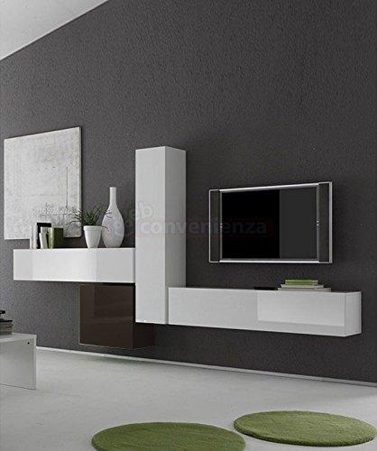 Parete Attrezzata Porta Tv Moderna.Web Convenienza Box 6 E Bianco Lucido E Antracite Lucido Parete