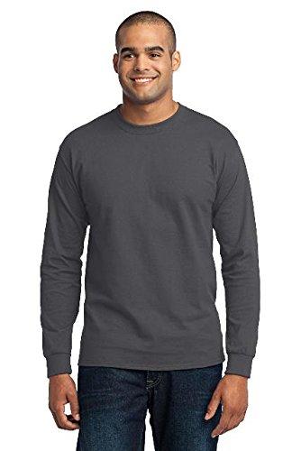 Sleeve Long T-shirts Blank (Port & Company Men's Long Sleeve 50/50 Cotton/Poly T Shirt L Charcoal)