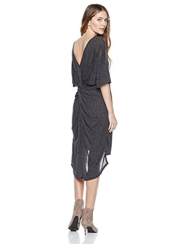 s Bell-Sleeve Sweater-Dress with Back Twist Detail X-Small Charcoal (Twist Detail Jersey Dress)