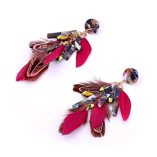 Nicole Miller New York Round Maroon Resin Acrylic Fuscia Pink Feathers Rosegold Dangle Earrings 3