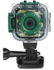[Upgraded] Kids Camera, DROGRACE Kids Sports Action Camera Waterproof 1080P Digital Video Camcorder for Boys Christmas Birthday Toy Build-in Game(Green)