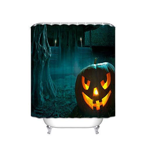 Halloween Evil Smiley Orange Pumpkin Lights Dry Trees Night House Shower Curtain Mildew-Free Fabric For Bathroom 72''X72'' Inch -