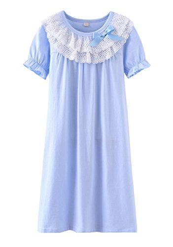 Wsorhui Little Girls Princess Nightgown Cotton Lace Bowknot Sleepwear Nightdress