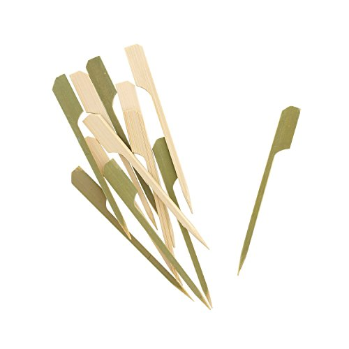 Hoiss Bamboo Picks Skewers Paddle Skewers BBQ Picks, Perfect for Party Food, Sausages, Burgers, Prawns, Kebabs, Weddings, BBQ, Desserts (300 pcs 3.5'' Paddle Picks) by Hoiss