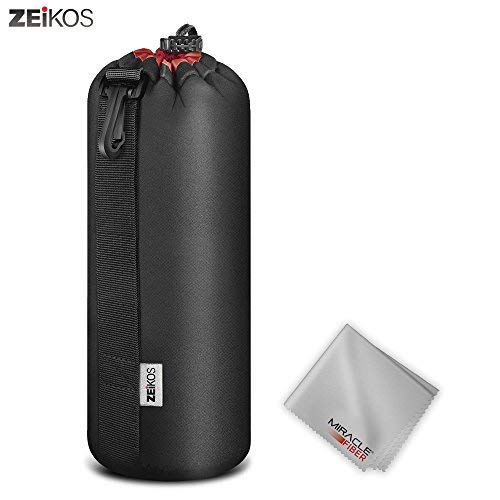 Zeikos ZELP4 Lens Case Extra Large Size Thick Protective Neoprene Pouch for DSLR Camera Lens (CanonNikonPentaxSonyOlympusPanasonic) Comes with a Miracle Microfiber Cloth, X-Large