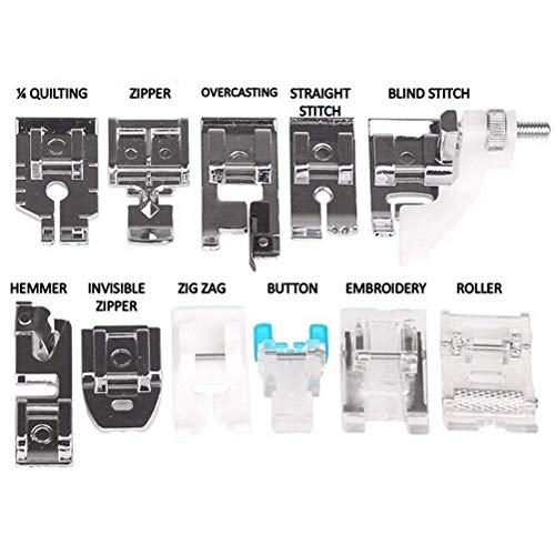 Buytra 11 Pack Sewing Machine Presser Set Snap-On Presser Feet Kit for Brother, Singer, Janome, Butterfly etc.