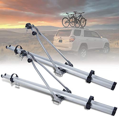 RXMOTOR Universal Aluminum Roof Bicycle Rooftop Rack Mountain Bike Mount for Cross-Bar-Mount Upright Carrier W Lock Accessories (Only Fit Models with Existing Cross Bars) (Silver Chrome)