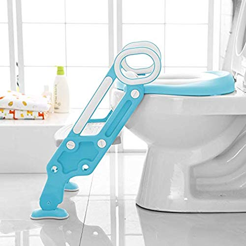 Toilet Ladder Potty Shelf Stool,Foldable Training Soft Seat for Kids, Adjustable Footrest, with Non-Slip Steps & Anti-Slip Pads Potty Step for Baby, Toddlers and Child, Blue and White by Potby
