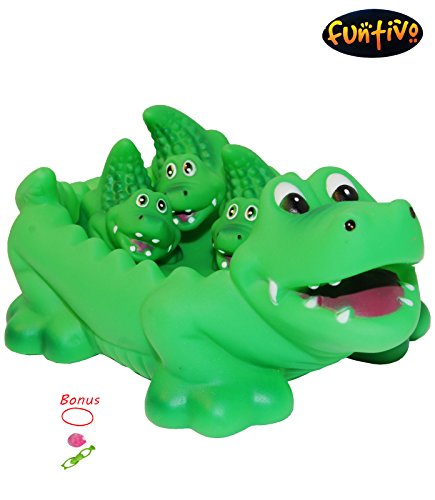 Rubber Bathtub Pals – Floating Bath Tub Toys, Alligator Family, Pool/Beach Toy for Boys and Girls, Green (Alligator Pool Toy)