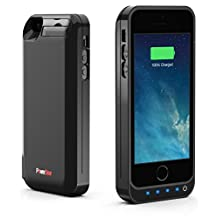PowerBear? iPhone 5 / 5S / 5C Battery Case [Stamina Series] - Protective Extended Rechargeable Power Case with Built-in 2.0 PowerBank [Up to 125% More Battery Power] - 4200mAh - Bare Black - LED Indicator Lights - Hands-free Kickstand + FREE Screen Protector