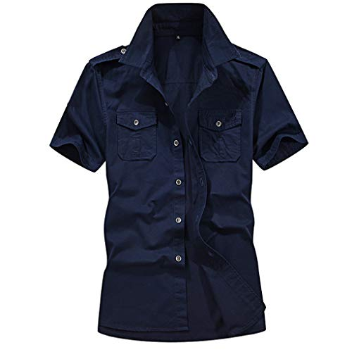 Benficial Men's Casual Fashion Military Pure Color Pocket Short Sleeve Loose T-Shirt Tops Dark Blue