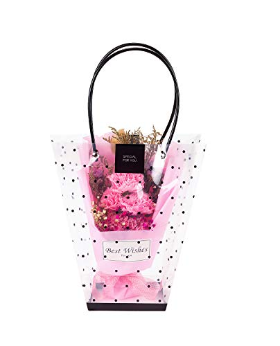 WRAPAHOLIC 10 Pack Transparent Gift Bag - Medium Black Polka Dots Gift Bag for Wedding, Birthday, Baby Shower, Party Favors, Flower Bouquet Wrapping - (9.4+ 4.7) L x 4.3W + 10.2H