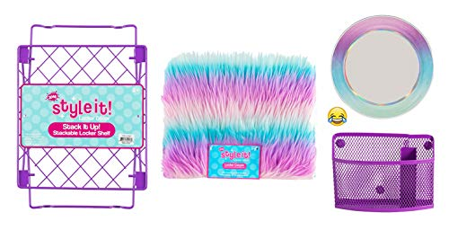 School Locker Organizer Kit - Accessories and Decoration Set with Shelf, Rug, Mirror and Bin (Purple Ombre Stripe)