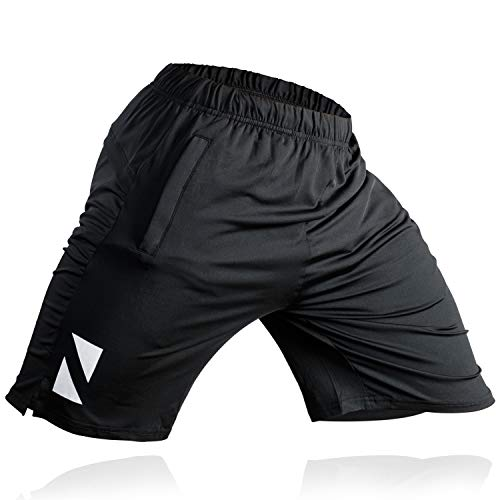 Athletic Workout Shorts Zipper Pockets
