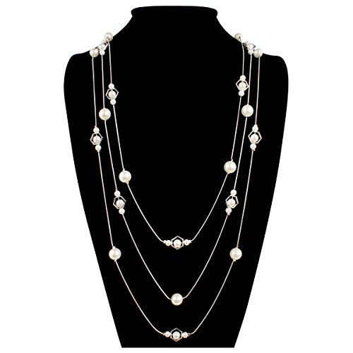 Acrylic Pearl Necklace (MYS Collection Women's Octagon Acrylic Pearl Chain Necklace (Silver))