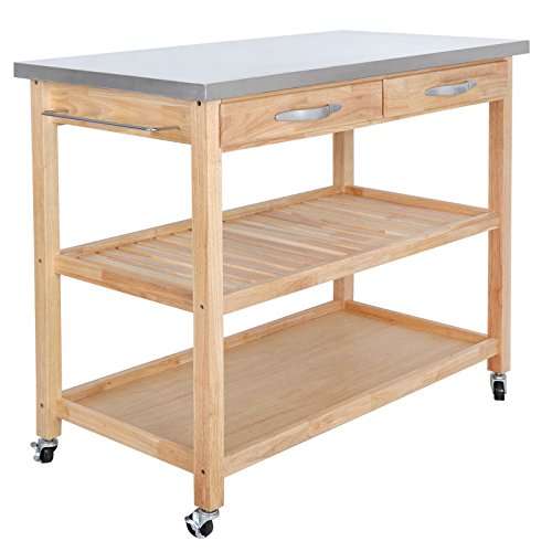 - Cypress Shop Wood Rolling Kitchen Island Trolley Cart Big Size Large Top Stainless Steel Storage Cabinet Organizer Pantry Utility Shelves Dining Prep Meal Preparation Drinking Party Home Furniture